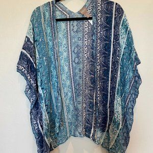Chico's Blue White Floral Short Sleeve Kimono S/M